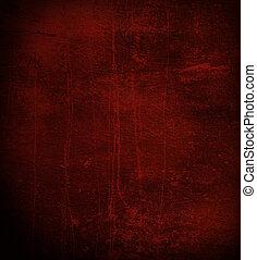 escuro, arranhado, parede vermelha