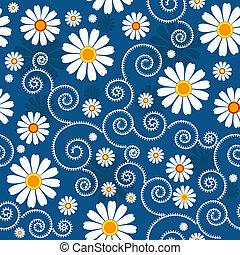 escuro azul, padrão floral