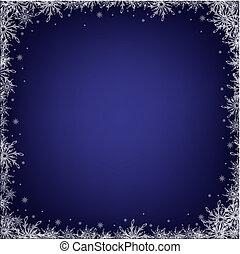 escuro azul, snowflakes, fundo