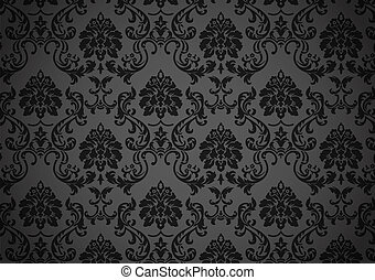 escuro, barroco, papel parede