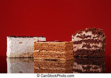 escuro, bolos, experiência vermelha, apetitoso