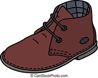 escuro, camurça, vermelho, sapato