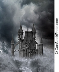 escuro, castelo