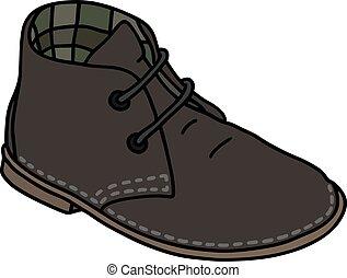 escuro, clássicas, sapato, camurça