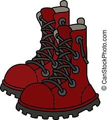 escuro, laço, sapatos, vermelho