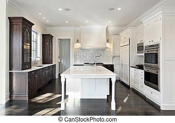 escuro, luz, cabinetry, cozinha