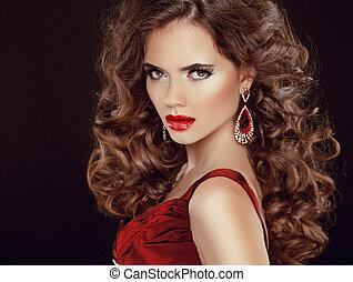 escuro, morena, beleza, stare., lips., isolado, longo, luxuoso, cabelo, ondulado, fundo, excitado, menina, modelo, vermelho