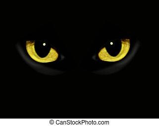 escuro, noturna, gato, olhos
