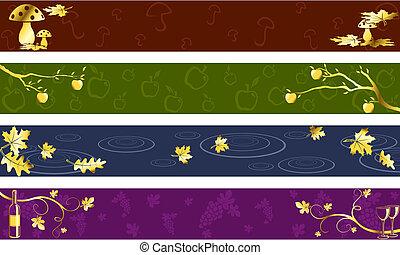 escuro, outono, cores, bandeiras