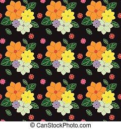 escuro, padrão, floral, seamless, multicolored