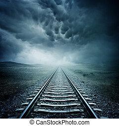 escuro, pista, estrada ferro