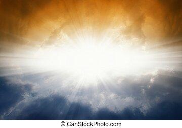 escuro, sol, céu brilhante