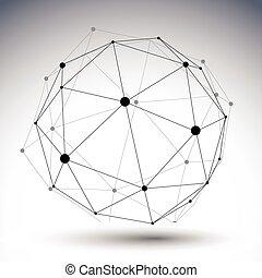 esférico, di, cor, abstratos, ilustração, único, vetorial, alinhado, 3d