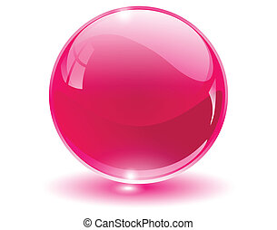 esfera, 3d, cristal, vidro