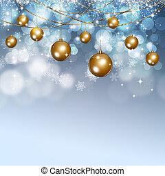 esferas neve, xmas, fundo, inverno