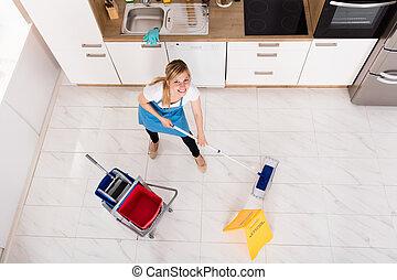 esfregão, mulher, limpeza, cozinha, chão