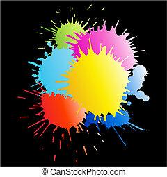 esguichos, pintura, chuva, coloridos