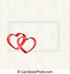espaço, texto, quadro, corações, fita, 3d