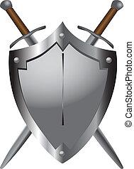 espadas, medieval, escudo
