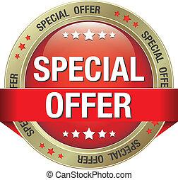 especiais, ouro, oferta, botão vermelho