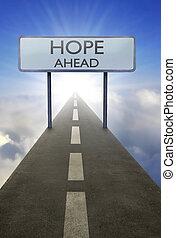 esperança, à frente, sinal estrada