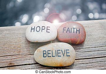 esperança, acreditar, fé, pedras