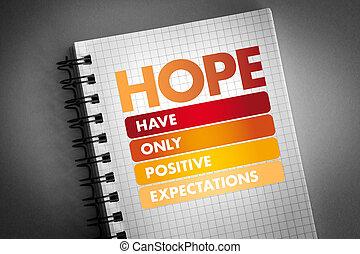 esperança, -, expectations, penduradas, positivo, cima