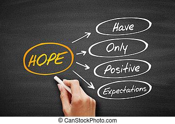 esperança, penduradas, -, cima, expectations, positivo