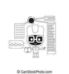 esperto, bot, artificial, pessoal, online, super, dar, teia, 2d, vetorial, caricatura, linha, robô, inteligência, magra, design., idéia, illustration., apoio, personagem, criativo, assistente, sugestões, conceito