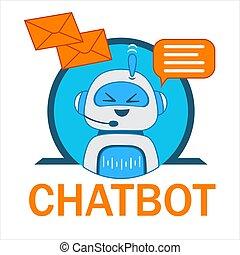 esperto, cliente, conversando, inteligência, bot, support., robô, chatbot, icon., conversa, vetorial, apartamento, artificial, operador, character., sorrindo