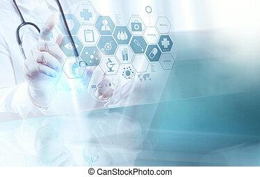 esperto, doutor, trabalhando, operando, médico, sala, conceito