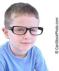 esperto, pequeno, óculos, menino, branca