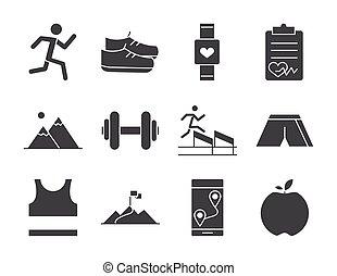 esperto, raça, executando, bandeira, calendário, escala, desenho, desporto, jogo, ícones, linha, perda, relógio, pista