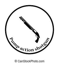 espingarda, pump-action, ícone