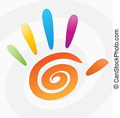 espiral, abstratos, vetorial, colorido, mão