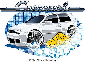 esponja, car, lavando, sinal