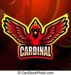 esport, desenho, mascote, logotipo, cardeal