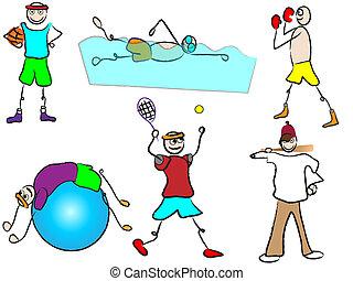 esporte recreação, caricatura