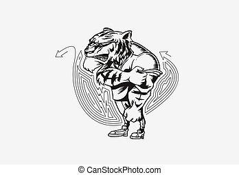 esportes, forte, vetorial, leão, poderoso, animal, illustration., mascote