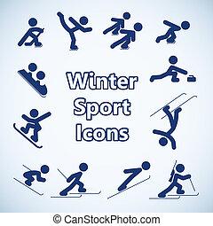 esportes, jogo, inverno, ícones