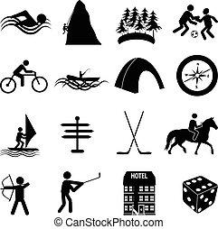 esportes, jogo, lazer, ícones