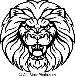 esportes, leão, mascote, zangado, rosto