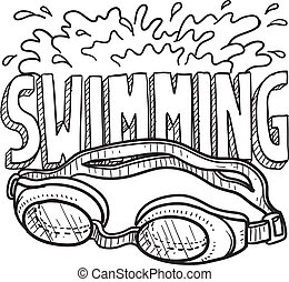 esportes, natação, esboço