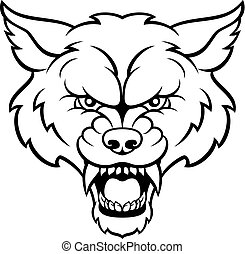 esportes, zangado, mascote, lobo, rosto