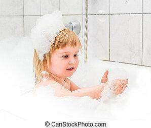 espuma, bebê, antigas, cute, dois, banho, ano, lava