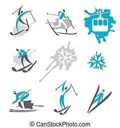 esquiador, expressivo, ícones