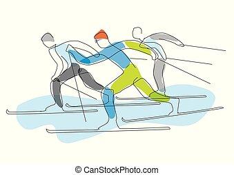 esquiadores, nordic, stylized., lineart, raça
