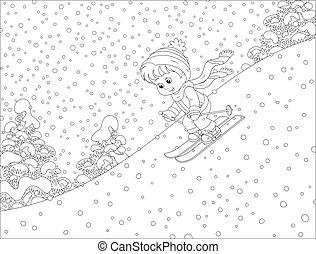 esquiando, criança, baixo