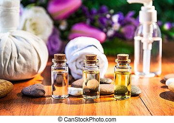 essencial, garrafa, spa, óleo, conceito