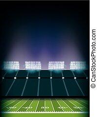 estádio, futebol americano, fundo, campo, ilustração